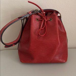 Auth Vuitton Red Epi Petite Noe Shoulder Bag!